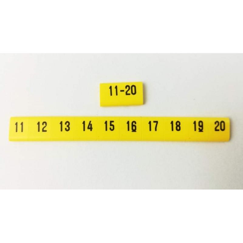 Oznacznik kablowy nasuwany cyfry 10-20, przek. 2,5mm2