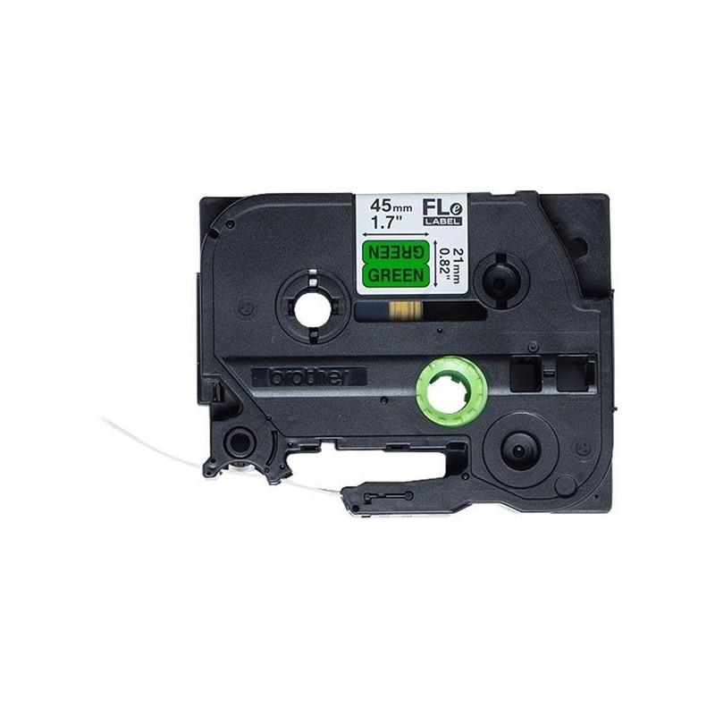 FLe-7511 Brother etykieta cięta, zielona czarny nadruk 45x21mm