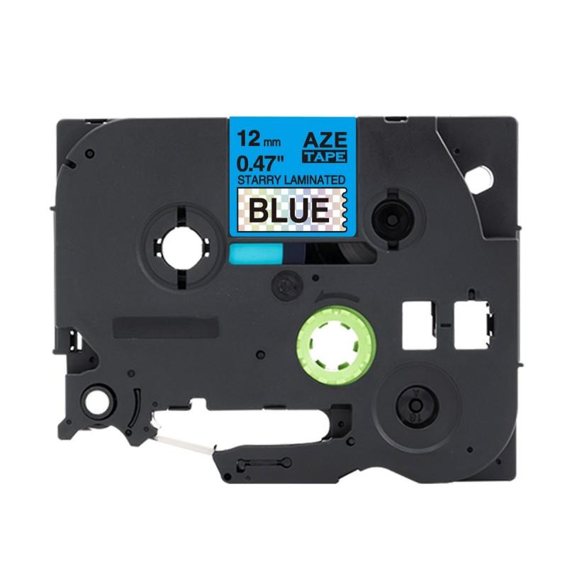 Tze-531 Brother niebieska, czarny nadruk 12mm OZDOBNA zamiennik