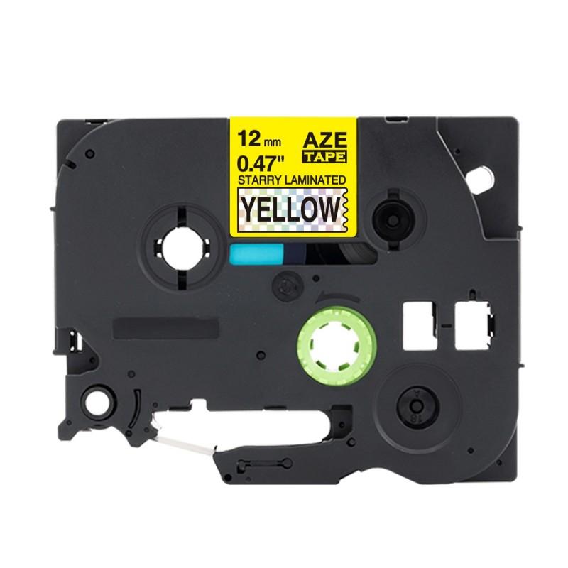 Tze-631 Brother żółta, czarny nadruk 12mm OZDOBNA zamiennik