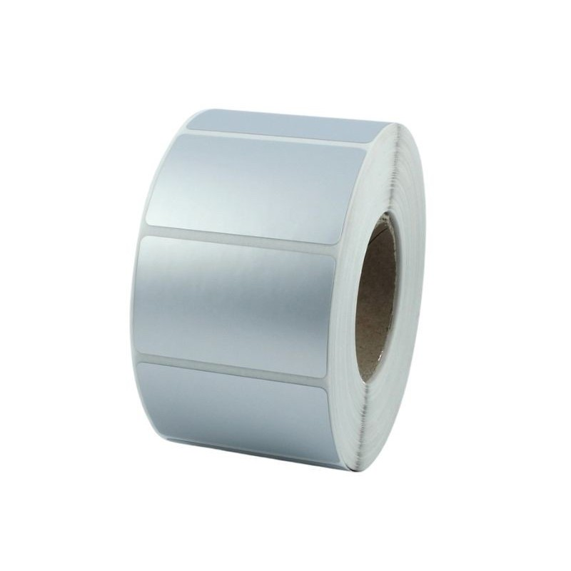 Etykiety foliowe 100x80 mm srebrne, 500 szt. do termotransferowych drukarek etykiet TSC