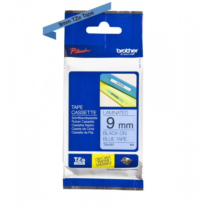 Taśma laminowana Brother TZe-521 niebieska 9mm szerokości do drukarek Brother PT