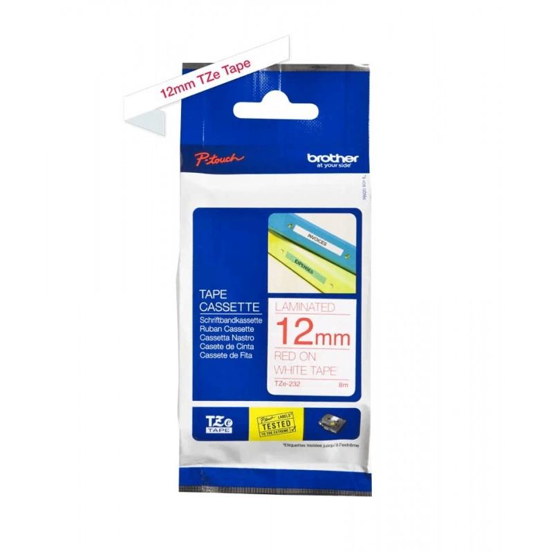 Taśma laminowana Brother TZe-232 biała 12mm szerokości do drukarek Brother PT
