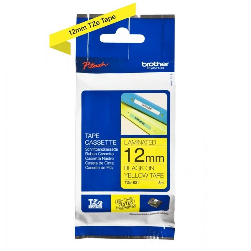 Taśma laminowana Brother TZe-631 żółta 12mm szerokości do drukarek Brother PT