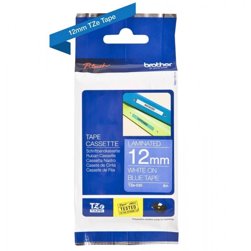 Taśma laminowana Brother TZe-535 niebieska 12mm szerokości do drukarek Brother PT