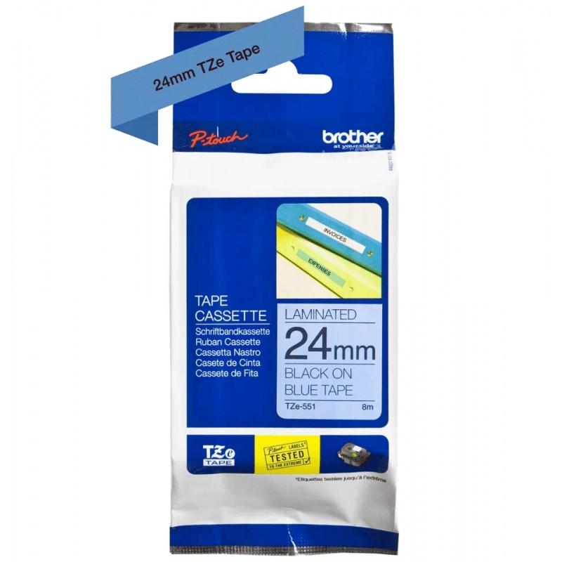 Taśma laminowana Brother TZe-551 niebieska 24mm szerokości do drukarek Brother PT