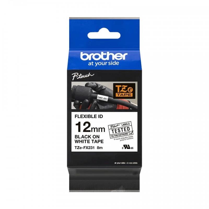 Taśma laminowana Brother TZe-Fx231 biała 12mm szerokości do drukarek Brother PT