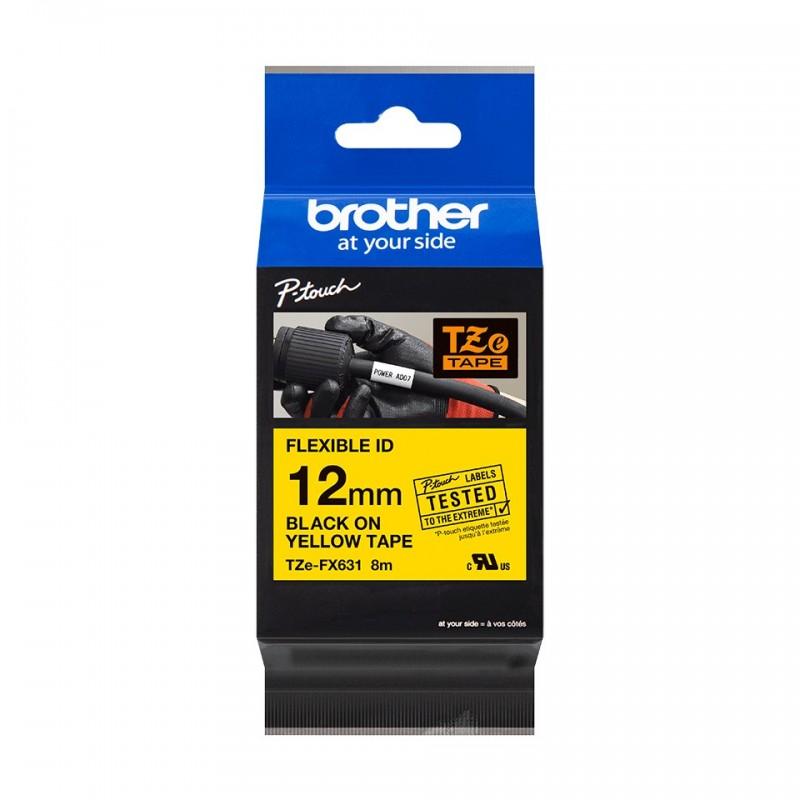 Taśma laminowana Brother TZe-Fx631 żółta 12mm szerokości do drukarek Brother PT
