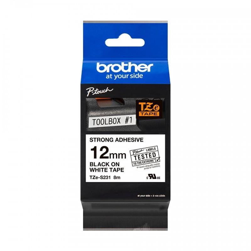 Taśma laminowana Brother TZe-S231 biała 12mm szerokości mocny klej do drukarek Brother PT