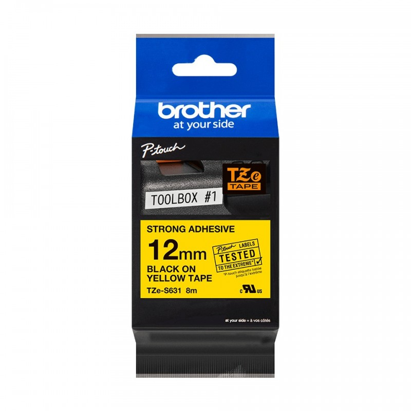 Taśma laminowana Brother TZe-S631 biała 12mm szerokości mocny klej do drukarek Brother PT