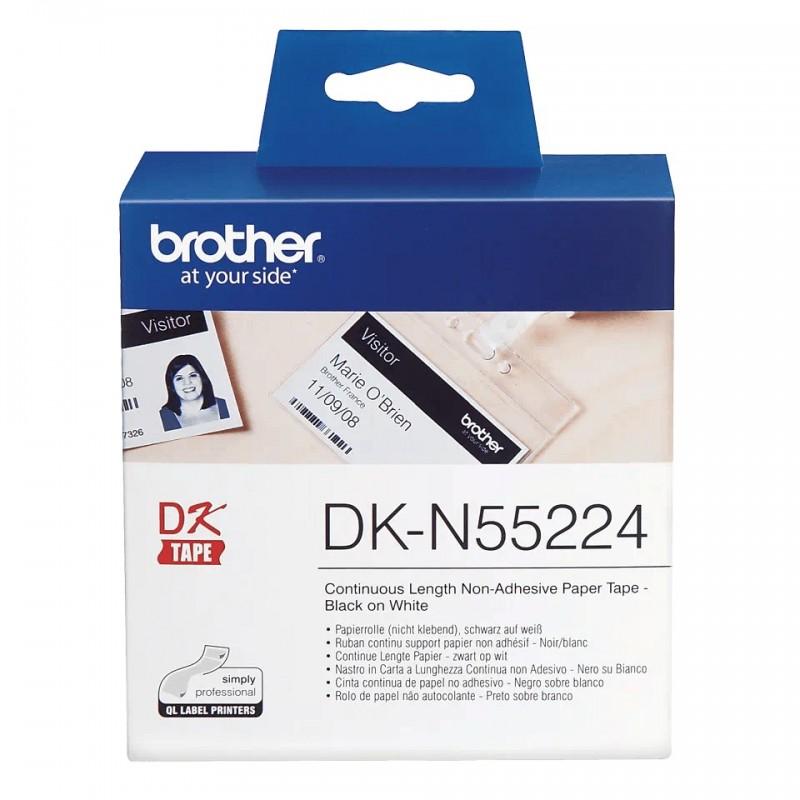 Etykiety Brother DK-N55224 54mmx30.48m, białe, nieklejące, do drukarek etykiet Brother QL