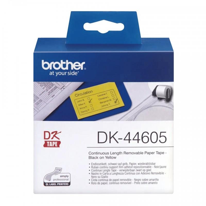 Etykiety Brother DK-44605 62mmx30.48m, żółte, do drukarek etykiet Brother QL