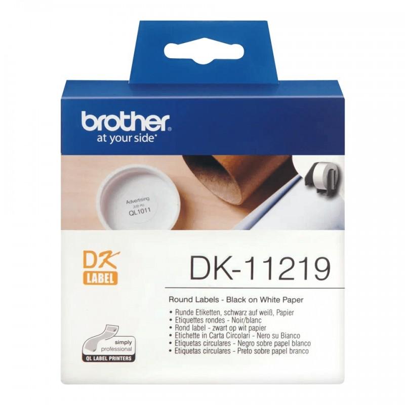 Etykiety Brother DK-11219 okrągłe, śr.12mm 1200 szt. do drukarek etykiet Brother QL