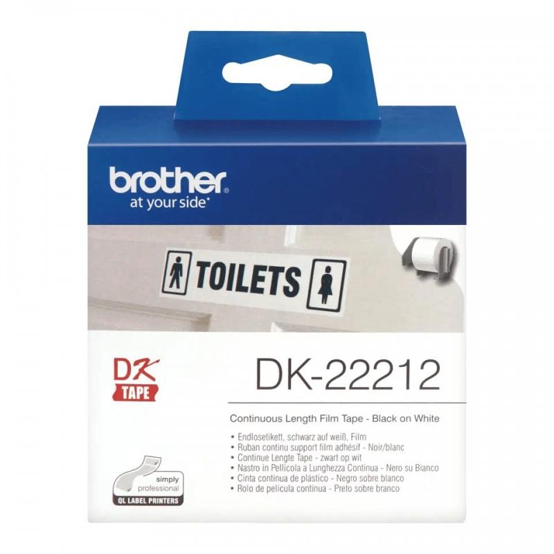 Etykiety Brother DK-22212 62mmx30.48m, białe, do drukarek etykiet Brother QL