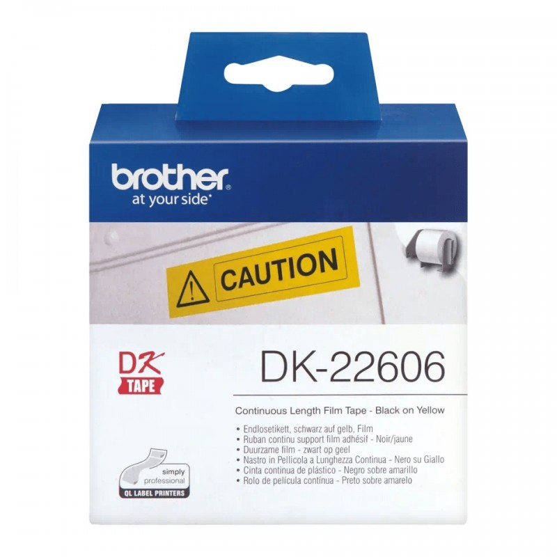 Etykiety Brother DK-22606 62mmx15.24m, żółte, do drukarek etykiet Brother QL