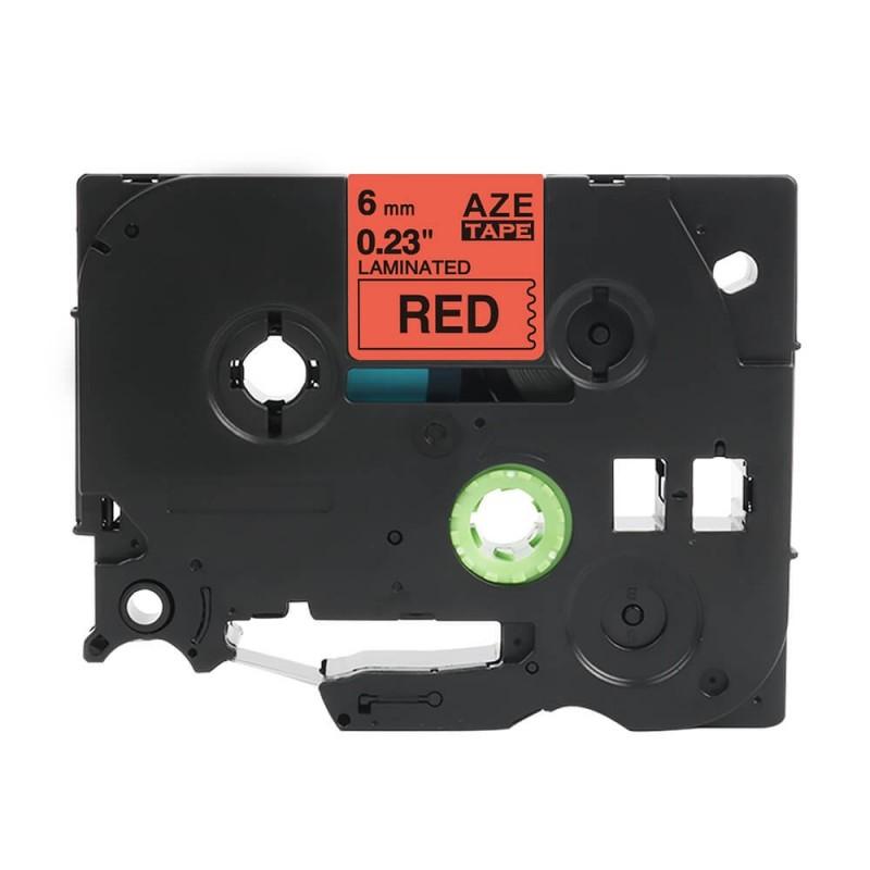 Taśma laminowana Brother TZe-411 czerwona 6mm szerokości do drukarek Brother PT zamiennik