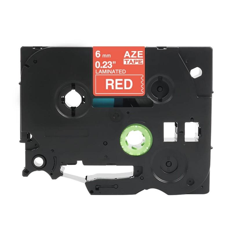 Taśma laminowana Brother TZe-415 czerwona 6mm szerokości do drukarek Brother PT zamiennik