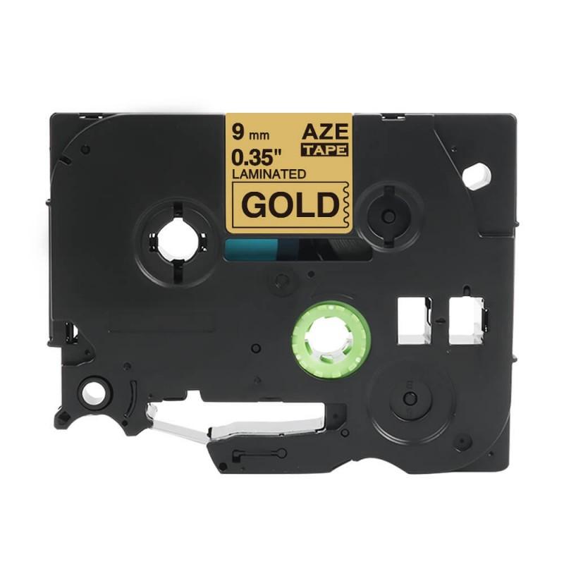 Taśma laminowana Brother TZe-821 złota 9mm szerokości do drukarek Brother PT zamiennik