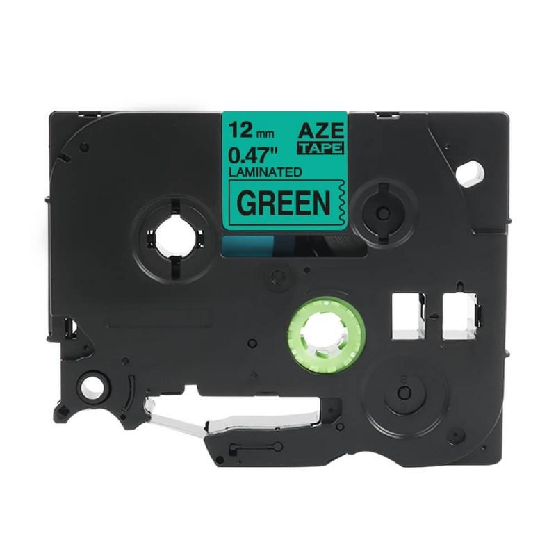 Taśma laminowana Brother TZe-731 zielona 12mm szerokości do drukarek Brother PT zamiennik