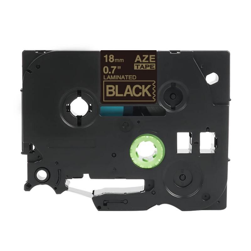 Tze-344 Brother czarna, złoty nadruk 18mm zamiennik