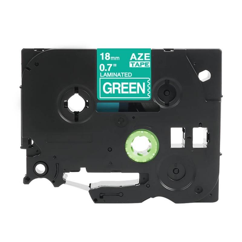 Taśma laminowana Brother TZe-745 zielona 18mm szerokości do drukarek Brother PT zamiennik