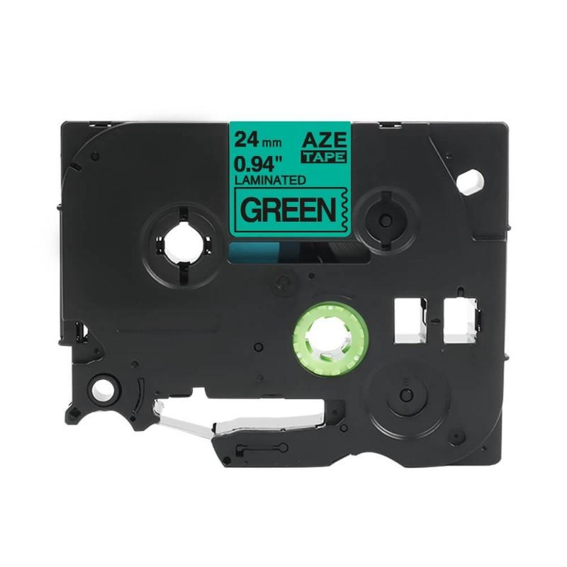 Taśma laminowana Brother TZe-751 zielona 24mm szerokości do drukarek Brother PT zamiennik