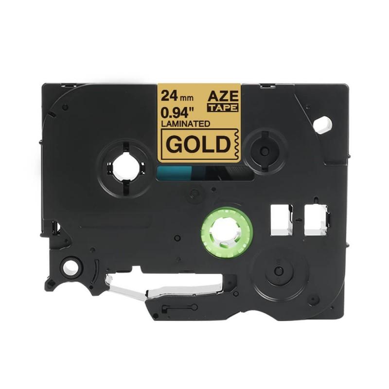 Taśma laminowana Brother TZe-851 złota 24mm szerokości do drukarek Brother PT zamiennik