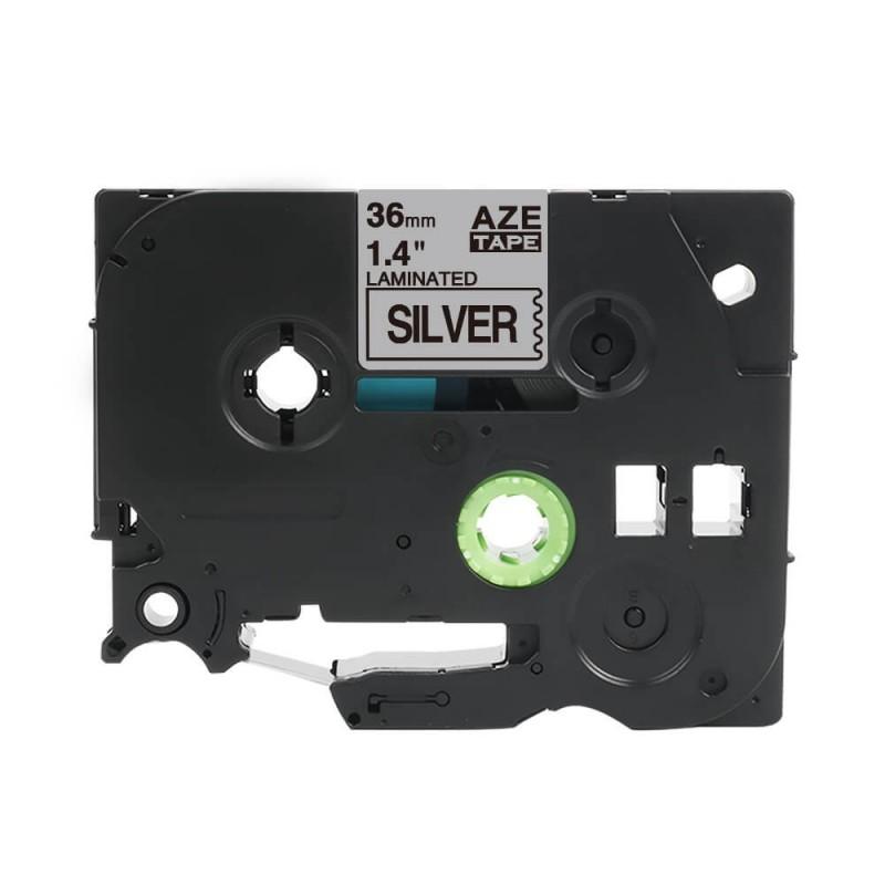 Taśma laminowana Brother TZe-961 srebrna 36mm szerokości do drukarek Brother PT zamiennik