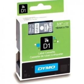Taśma Dymo D1 45810, S0720900 szer. 19 mm, dł. 7 m, przezroczyste tło, biały druk